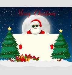 merry chirstmas santa with sunglasses vector image
