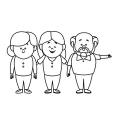 Mom and grandparents together family standing vector
