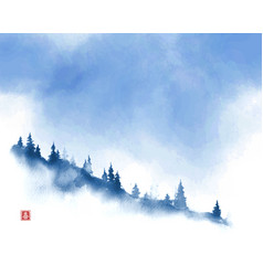 Mountain slope with pine trees in fog and blue sky vector