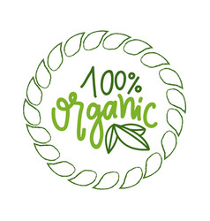 Natural food and fresh ingredients 100 percent vector