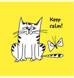 naughty kitten hand drawn vector image