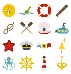 Nautical icons set in flat style vector