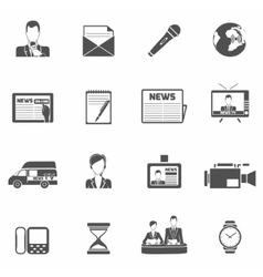 News icons black vector image