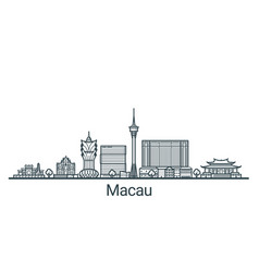 Outline macau banner vector