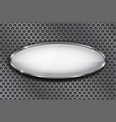 Oval white button with chrome frame 3d icon on vector