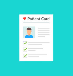 patient card healthy diagnosis medical record vector image