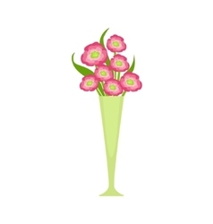 Pink Blooming Flower Bouquet In Tall Flower Vase vector