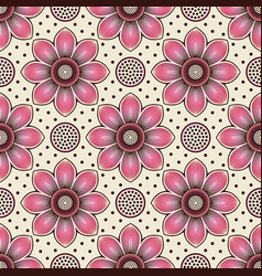 pink lotus flower and seed head seamless pattern vector image