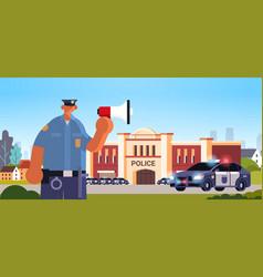 policeman in uniform using loudspeaker making vector image