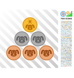 Pup coins flat icon with bonus vector