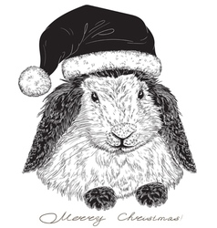 Rabbit Santa Claus vector