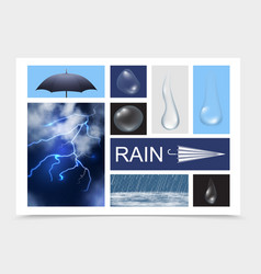 realistic rain elements composition vector image
