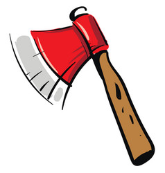 red ax with wooden handle on white background vector image