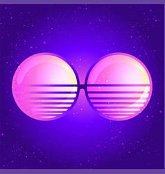 Round sun glasses over retro vector