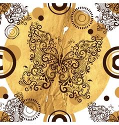 Seamless pattern with vintage openwork butterflies vector
