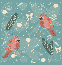 seamless winter pattern with winter doodles and vector image