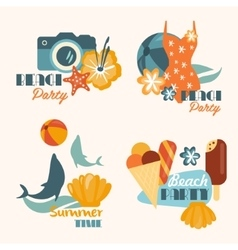 set beach party and summer time vacation vector image