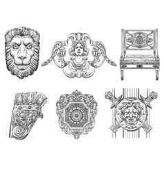 Set different decorative architectural elements vector