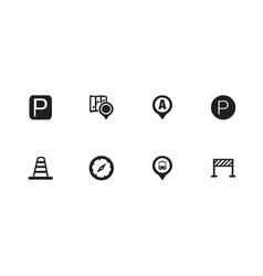set of 8 editable navigation icons includes vector image