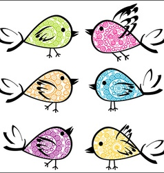 Set of colorful patterned birds vector image vector image