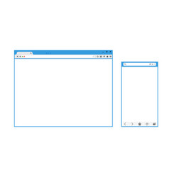 set of flat blank browser windows for different vector image