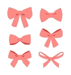 set of pink vintage gift bows wig ribbons vector image