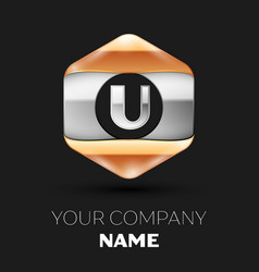 Silver letter u logo in silver-golden hexagonal vector