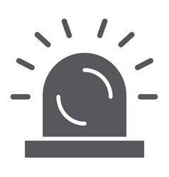 Siren glyph icon light and caution alarm sign vector