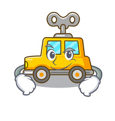 Smirking cartoon clockwork toy car in table vector
