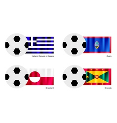 Soccer Ball of Greece Guam Greenland and Grena vector image