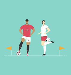 soccer players male and female character vector image