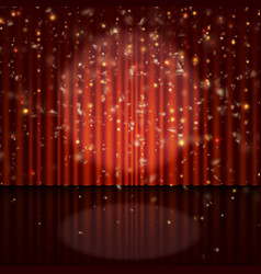 Spotlight on red curtain with glitter light eps vector