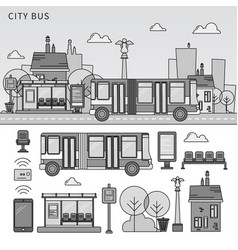 street bus in city line monochrome vector image
