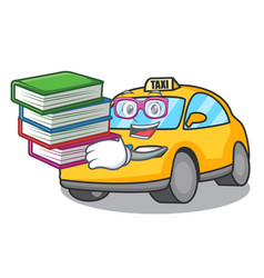 Student with book taxi character mascot style vector