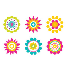 stylish abstract round flowers of simple elements vector image