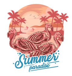 summer flamingo and coconut tree in beach view v vector image