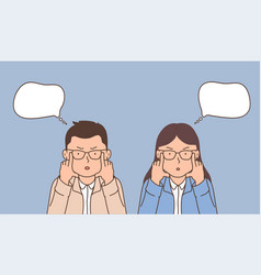 surprised business woman and man in glasses vector image