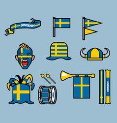 Sweden soccer supporter gear set vector