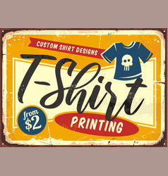 T shirt printing service shop sign vector