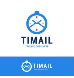 time mail logo icon design logotype clock vector image