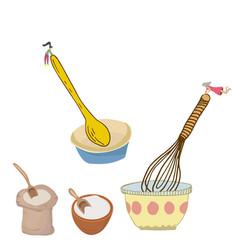 Tiny women mixing food vector