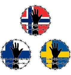 Violation human rights in scandinavian vector