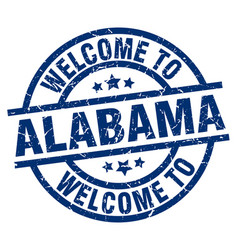 welcome to alabama blue stamp vector image