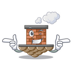 Wink brick chimney isolated in the character vector