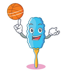 with basketball feather duster character cartoon vector image