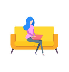 woman sitting on couch typing on laptop vector image