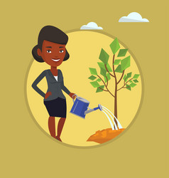 woman watering tree vector image