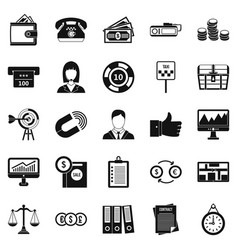 Working quarter icons set simple style vector