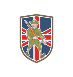 World war one soldier british marching cartoon vector