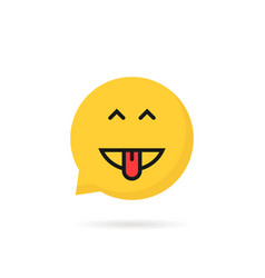 yellow simple excited emoji speech bubble logo vector image